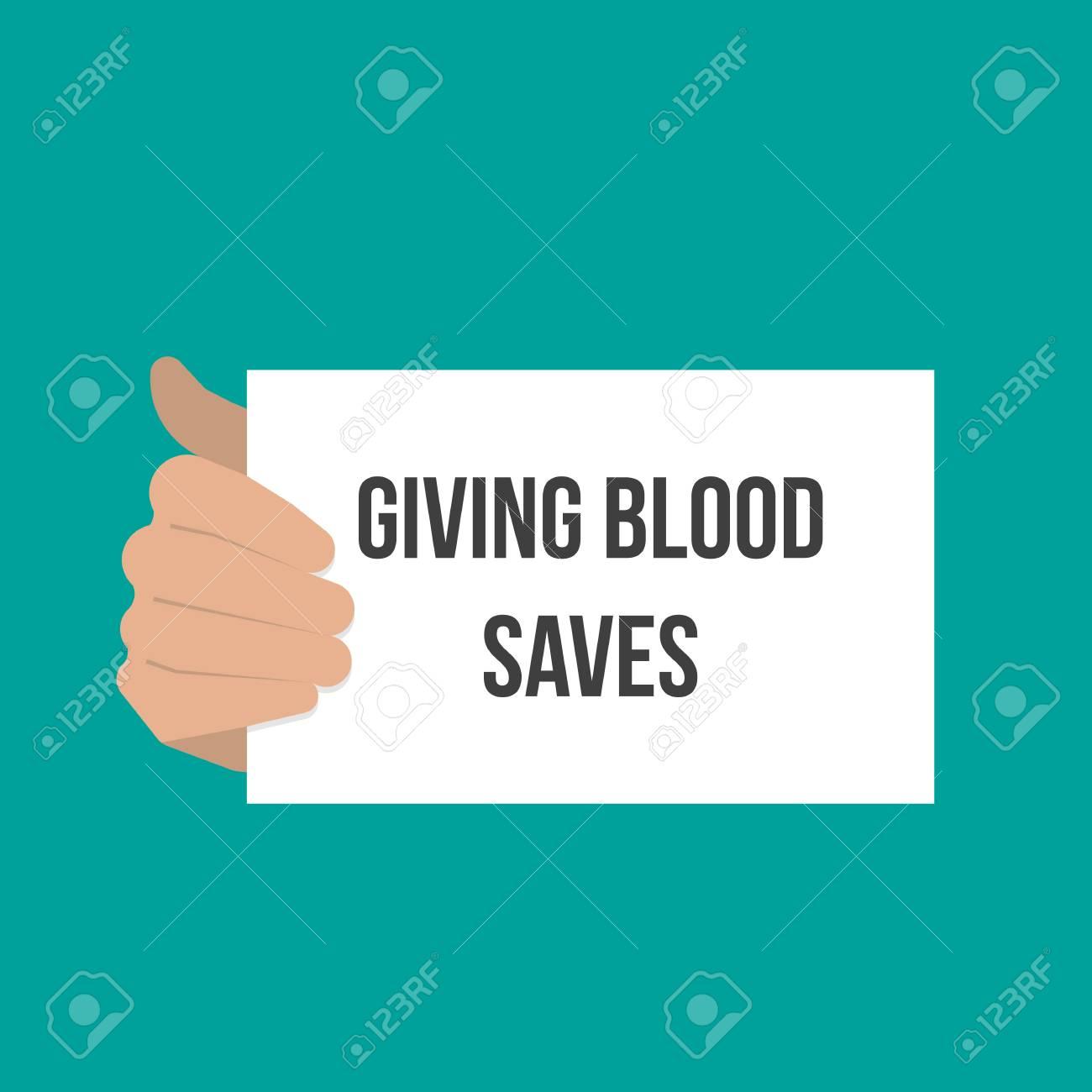 Man showing paper GIVING BLOOD SAVES. Vector flat illustration - 106054956