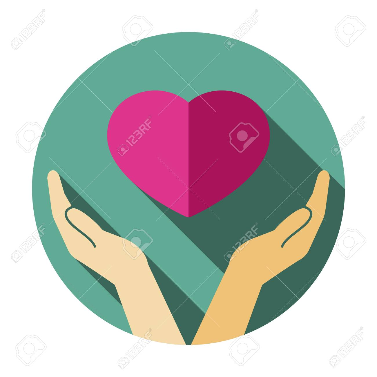 Hand, heart, love, romance icon, heart in hand symbol - 127520755