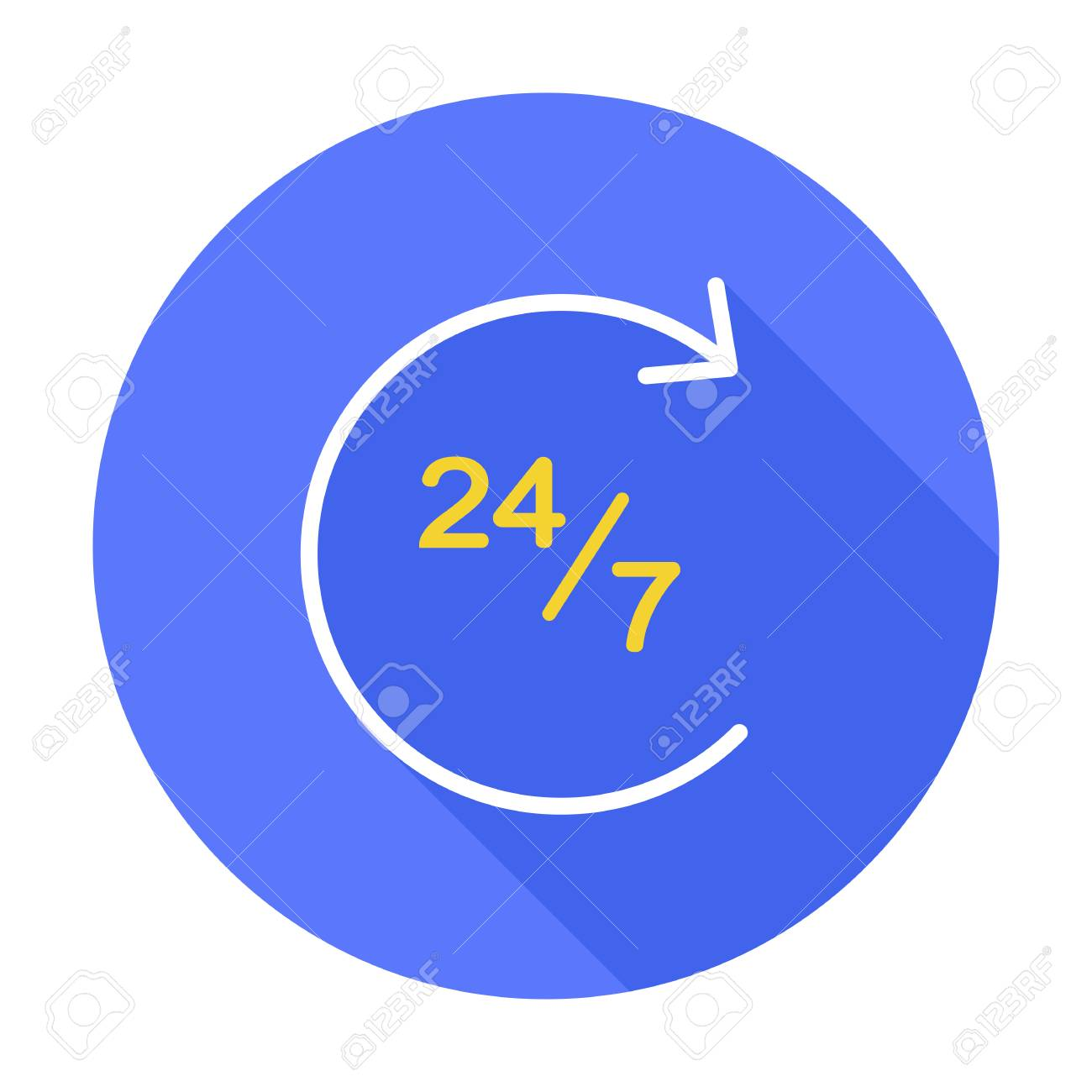 24 7 icon vector isolated illustration. Shop Open 24 hours 7 day. Full week. Clock, time, work concept. Support, assistance, service symbol. Business sign. Customer service. - 112464005