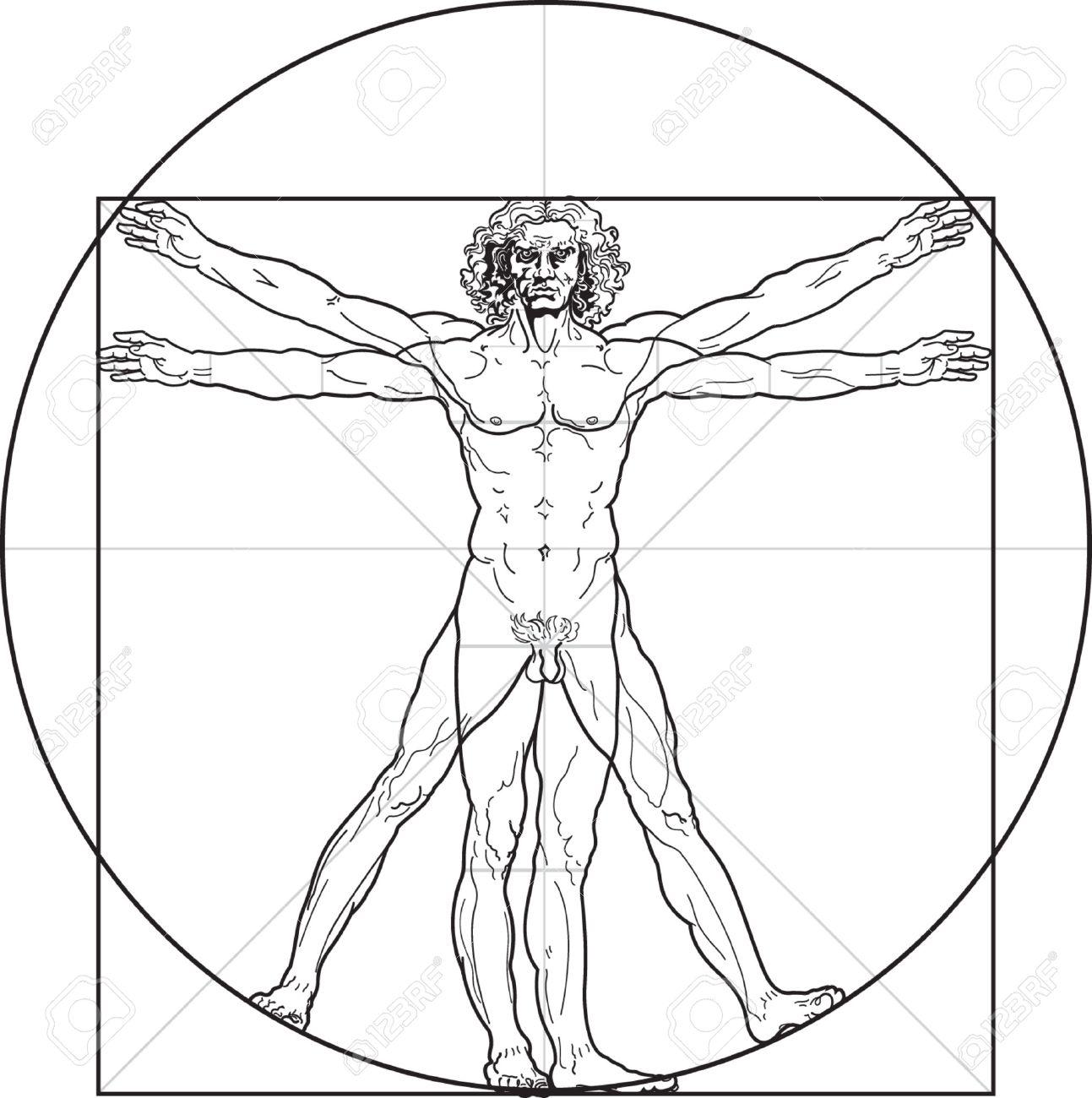 The Vitruvian man, or so called Leonardo's man. Detailed drawing on the basis of artwork by Leonardo da Vinci (executed circa in 1490) by ancient manuscript of Roman master Marcus Vitruvius Pollio. Stock Vector - 5681604