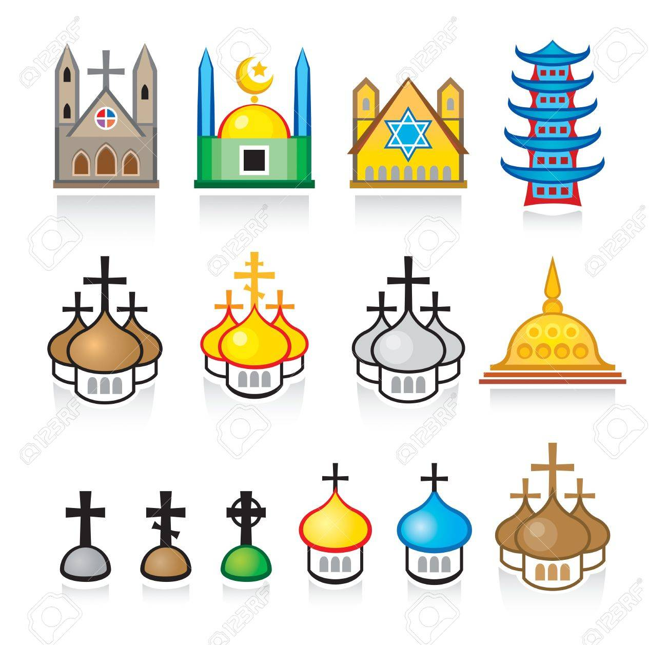 Religious Temples and Worship Places Stock Vector - 7784345