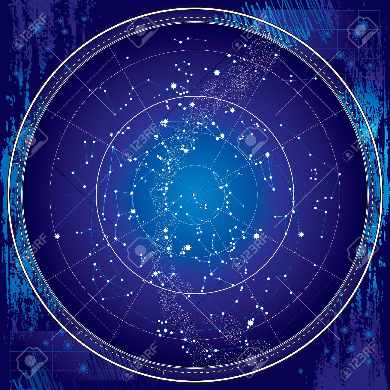 Celestial Map of The Night Sky - Astronomical Chart of Northern Hemisphere - Dark Blueprint version EPS-8 - 25697698