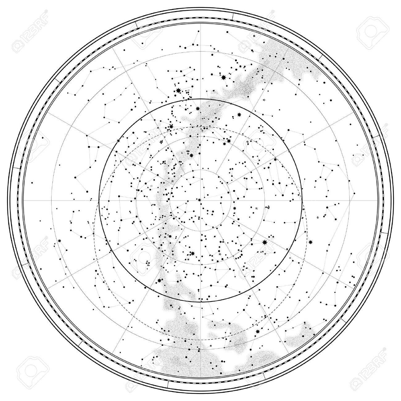 Astronomical Celestial Map of Northern Hemisphere (detailed outline Chart EPS-10) - 28069573