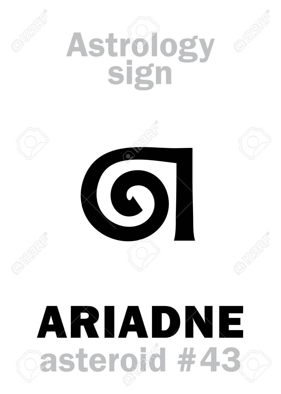 Astrology Alphabet: ARIADNE, asteroid #43  Hieroglyphics character