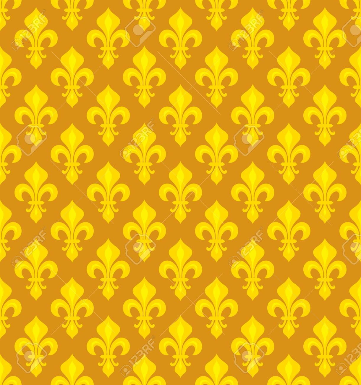 Royal Heraldic Lilies Fleur De Lis â Goldish Seamless Pattern Wallpaper Background