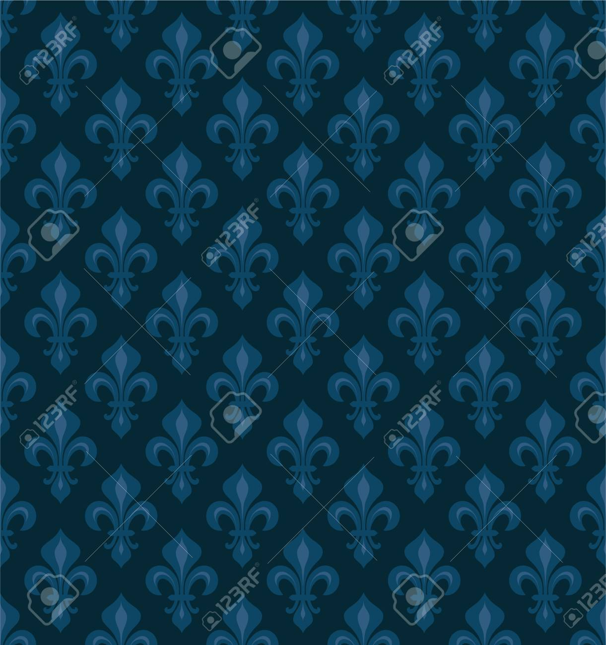 Vettoriale Royal Heraldic Lilies Fleur De Lis Velluto Blu