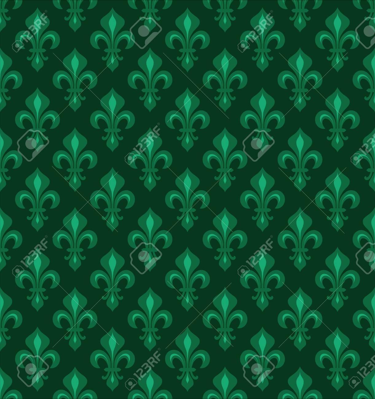 Royal Heraldic Lilies Fleur De Lis â Emerald Green Velvet Seamless Pattern Wallpaper Background