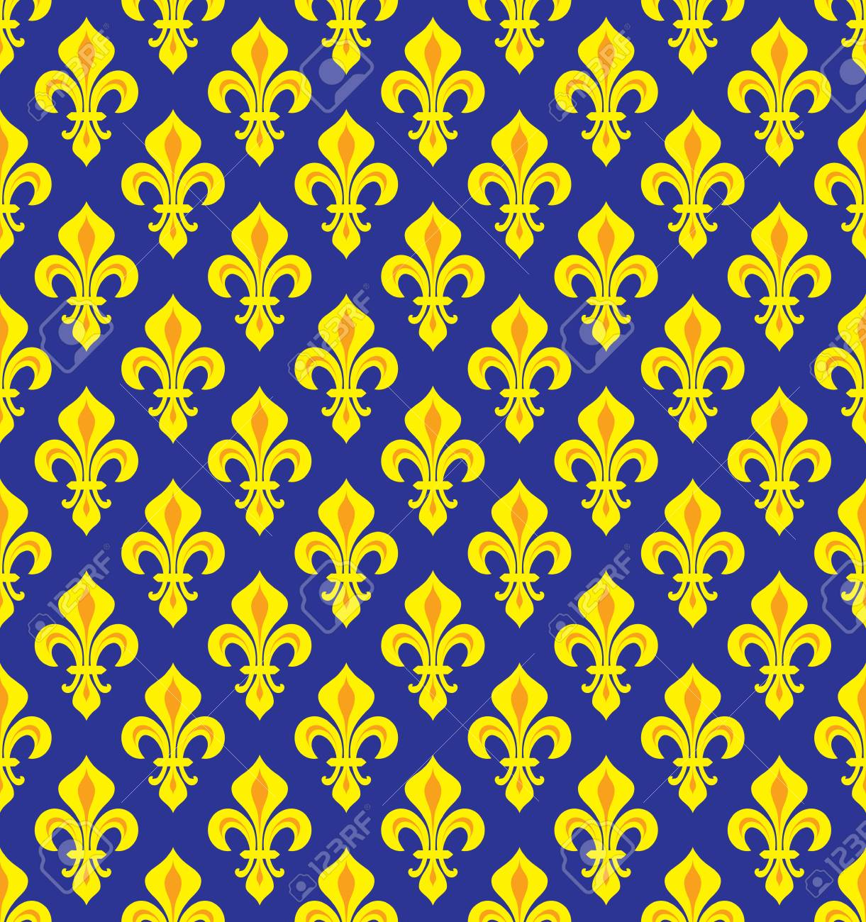 Royal Heraldic Lilies Fleur De Lis â Dark Blue Yellowviolet Velvet Seamless Pattern Wallpaper Background