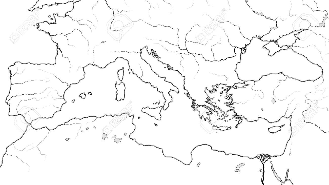 World Map of MEDITERRANEAN REGION: South Europe (Spain, French..