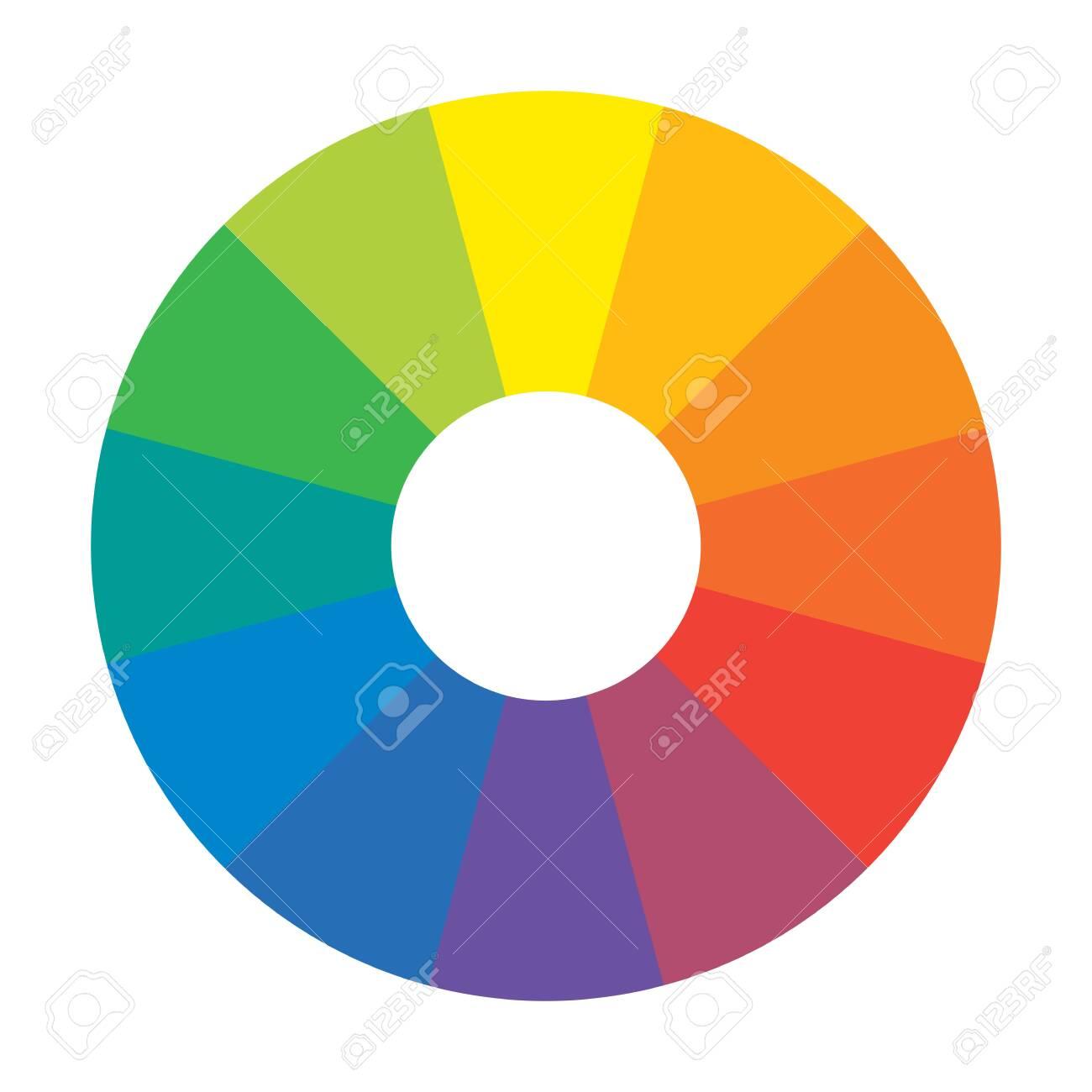 Multicolor Spectral Rainbow Circle of 12 segments. Spectral harmonic palette. - 130453708