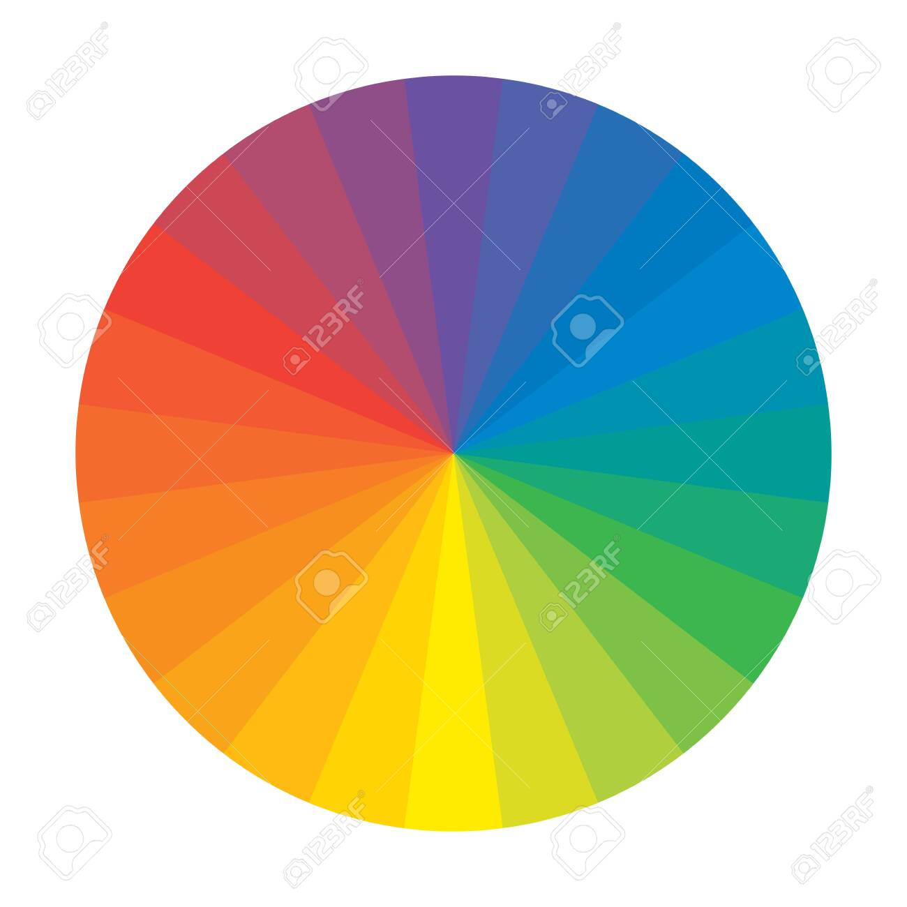 Spectral Rainbow Circle of 24 Multicolor Polychrome Segments. The spectral harmonic colorful palette of the painter. - 130453709