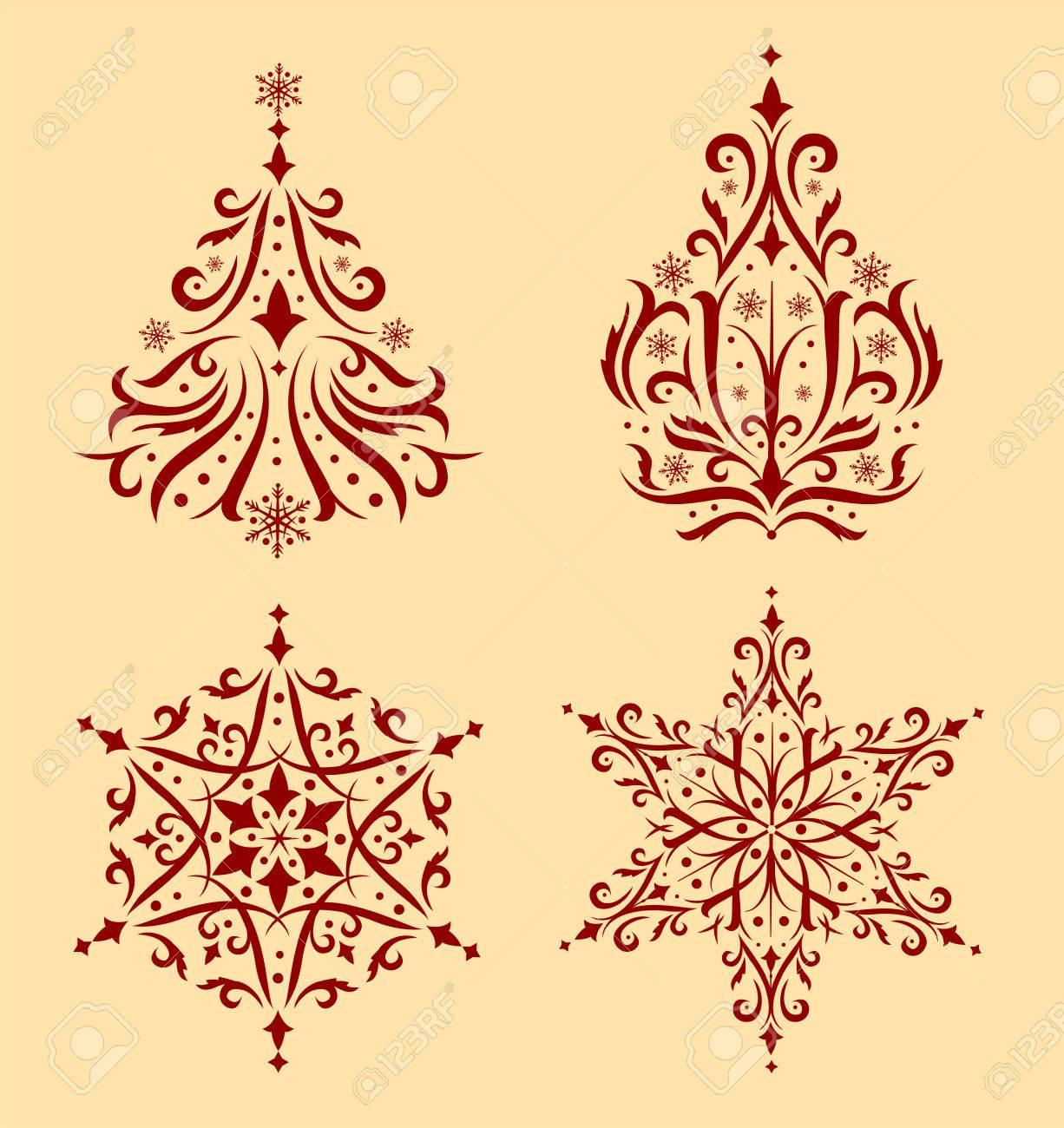Conjunto De Hermosos Adornos De Navidad Para Crear Tarjetas De - Crear-tarjetas-de-navidad