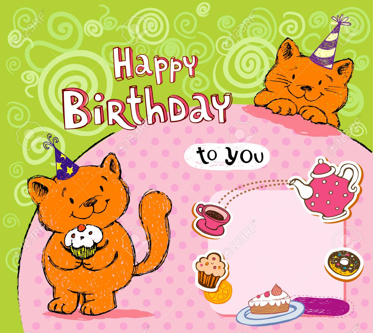 Birthday Greeting Card With Red Cats Stock Vector