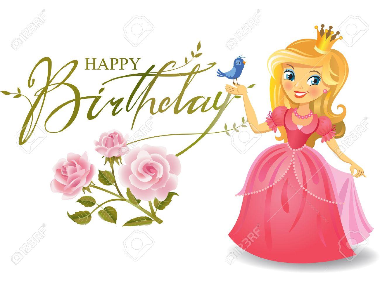 Happy Birthday Princess Greeting Card Royalty Free Cliparts