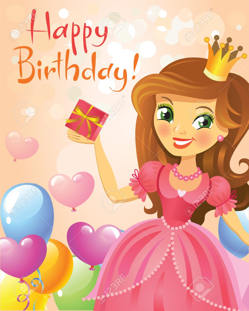 happy birthday, princess, greeting card. royalty free cliparts, Birthday card