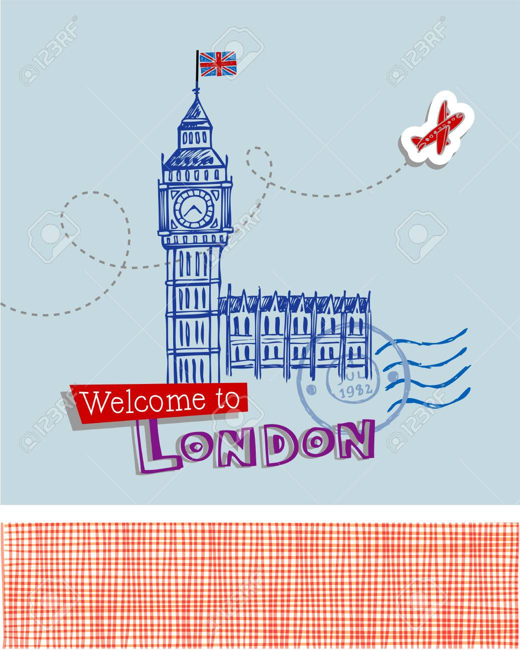 Greeting card welcome to london with main symbol of london greeting card welcome to london with main symbol of london big ben stock vector buycottarizona Gallery