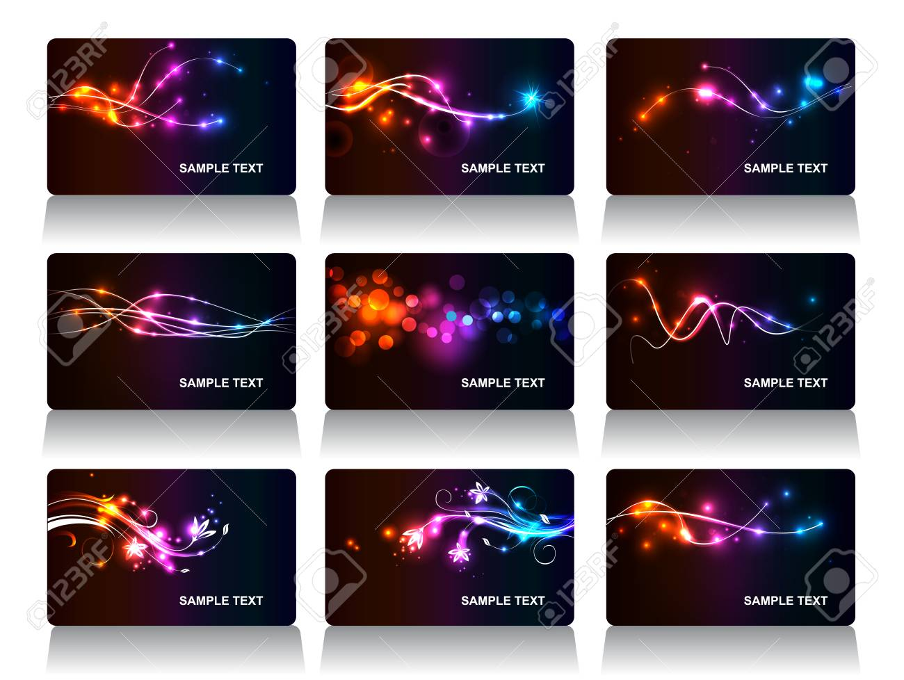 Set Of Vector Business Cards With Neon Modern Background
