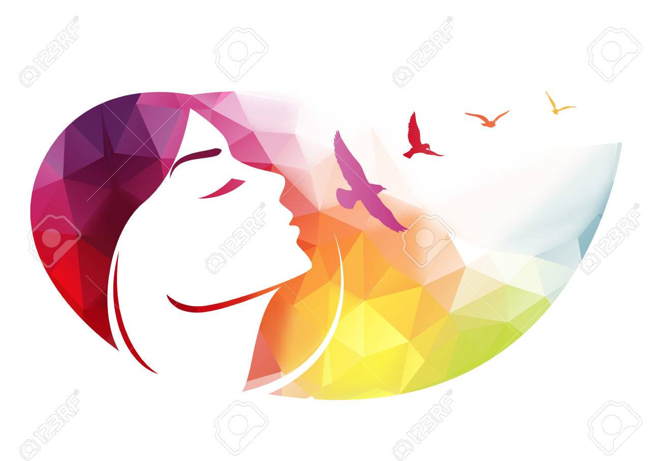 Abstract modern background with woman face. - 39510780