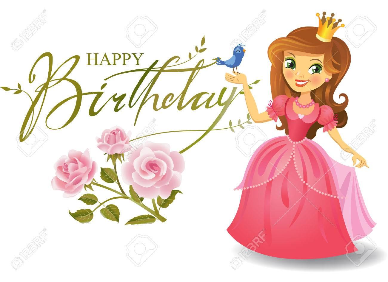 Famoso Buon Compleanno Principessa Per Biglietto Di Auguri. Clipart  KU64