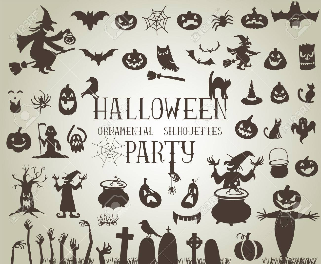 Set of silhouettes for Halloween party - 44942203