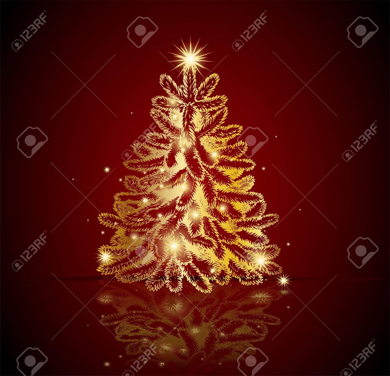 Moderno Arbol De Navidad De Oro Posibilidad De Crear Tarjetas - Crear-tarjetas-de-navidad