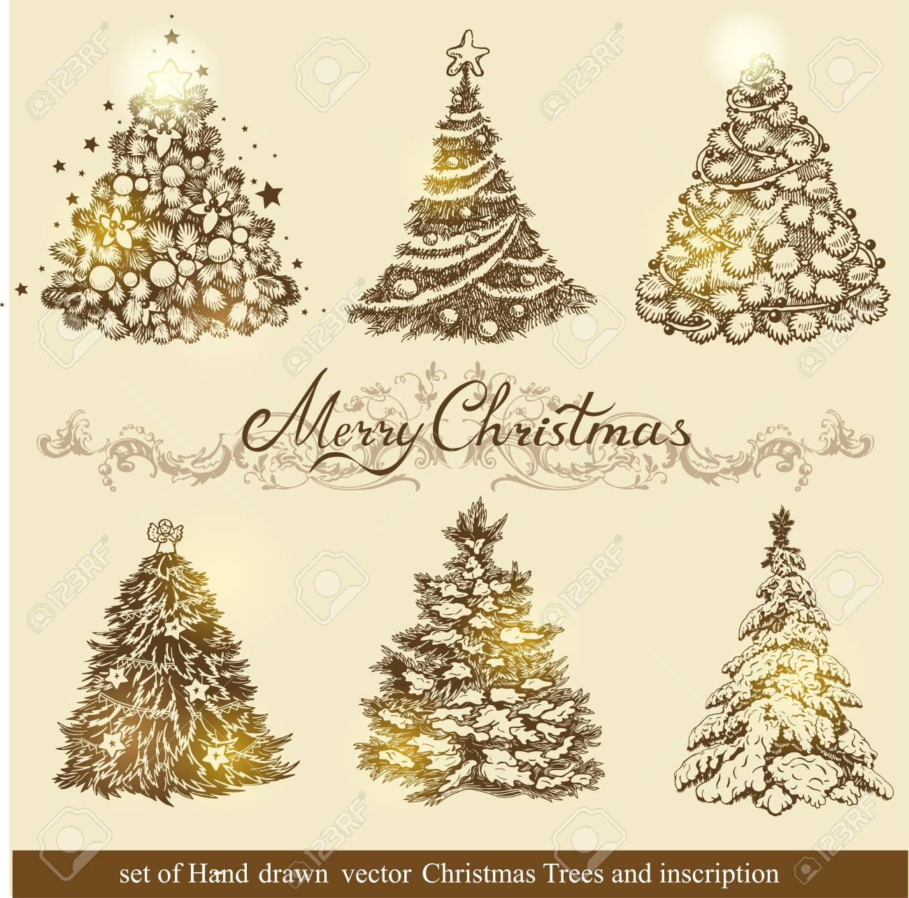 Set Of Beautiful Christmas Ornaments. To Create Holiday Cards ...