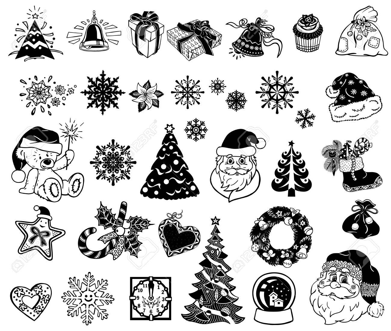 Vector Weihnachten Silhouetten Für Dekor Oder Aufkleber Lizenzfrei ...