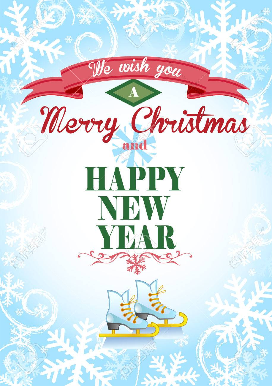 Cute Christmas Greeting Card With An Ice Background And The Skates