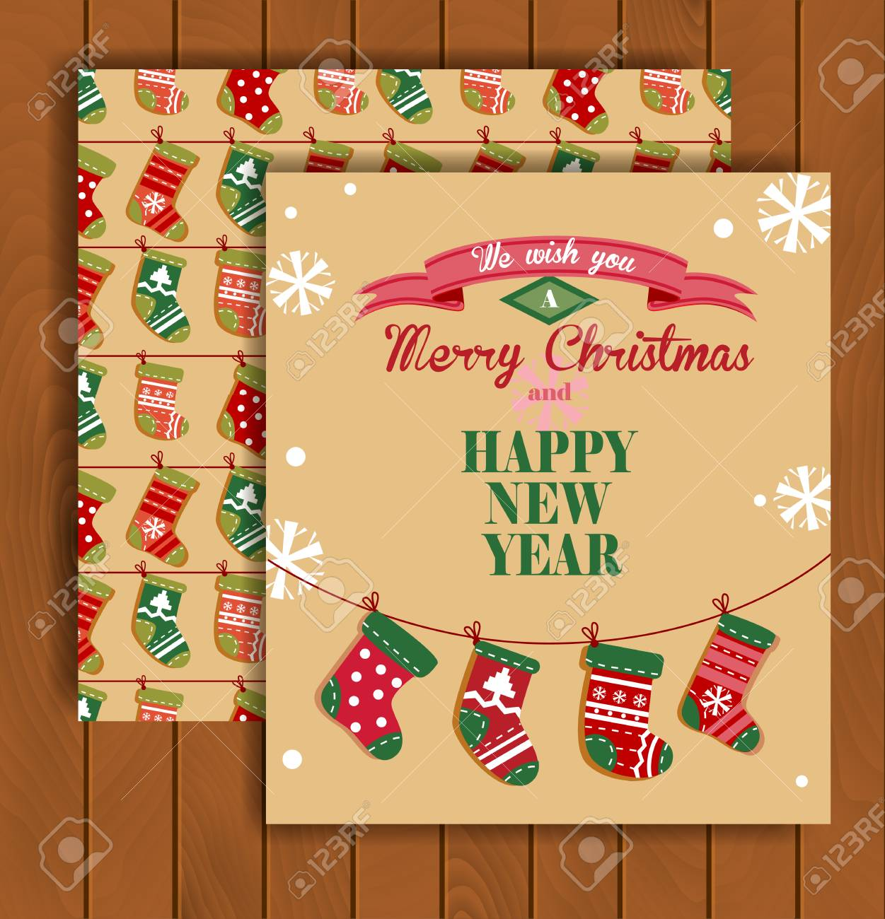 Cute Christmas Greeting Card With An Envelope The Socks Hanging