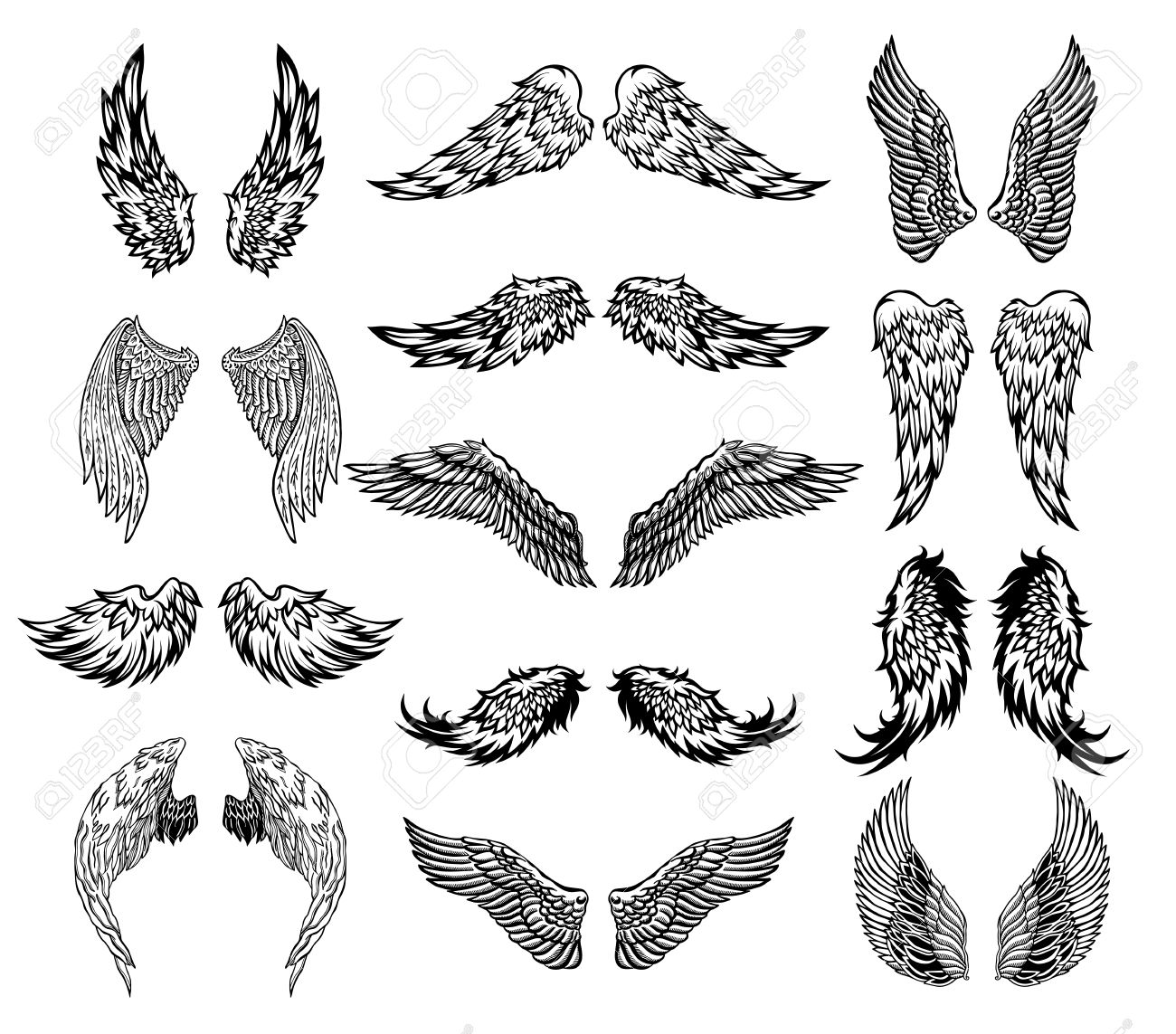 Flügel Tattoo Set Lizenzfrei Nutzbare Vektorgrafiken Clip Arts