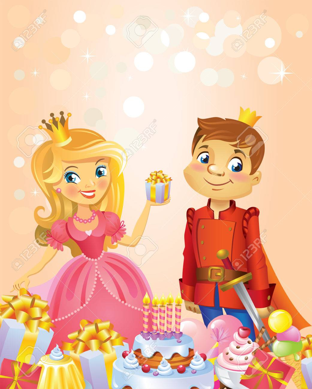 Illustration Of Beautiful Princess And Prince, Possible To Use ...