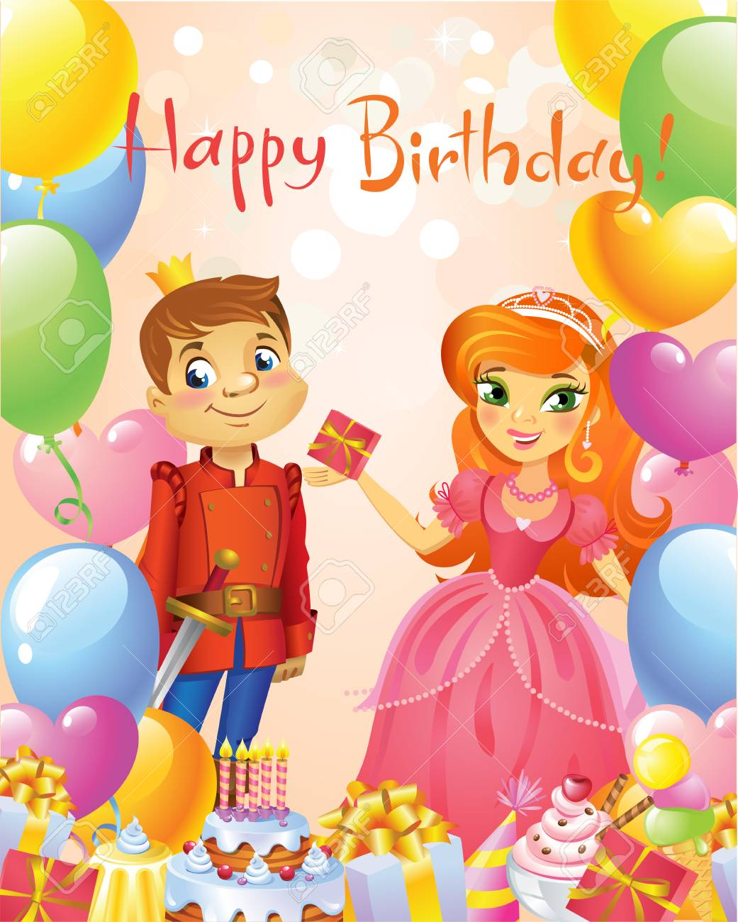 Happy Birthday Princess And Prince Greeting Card Royalty Free