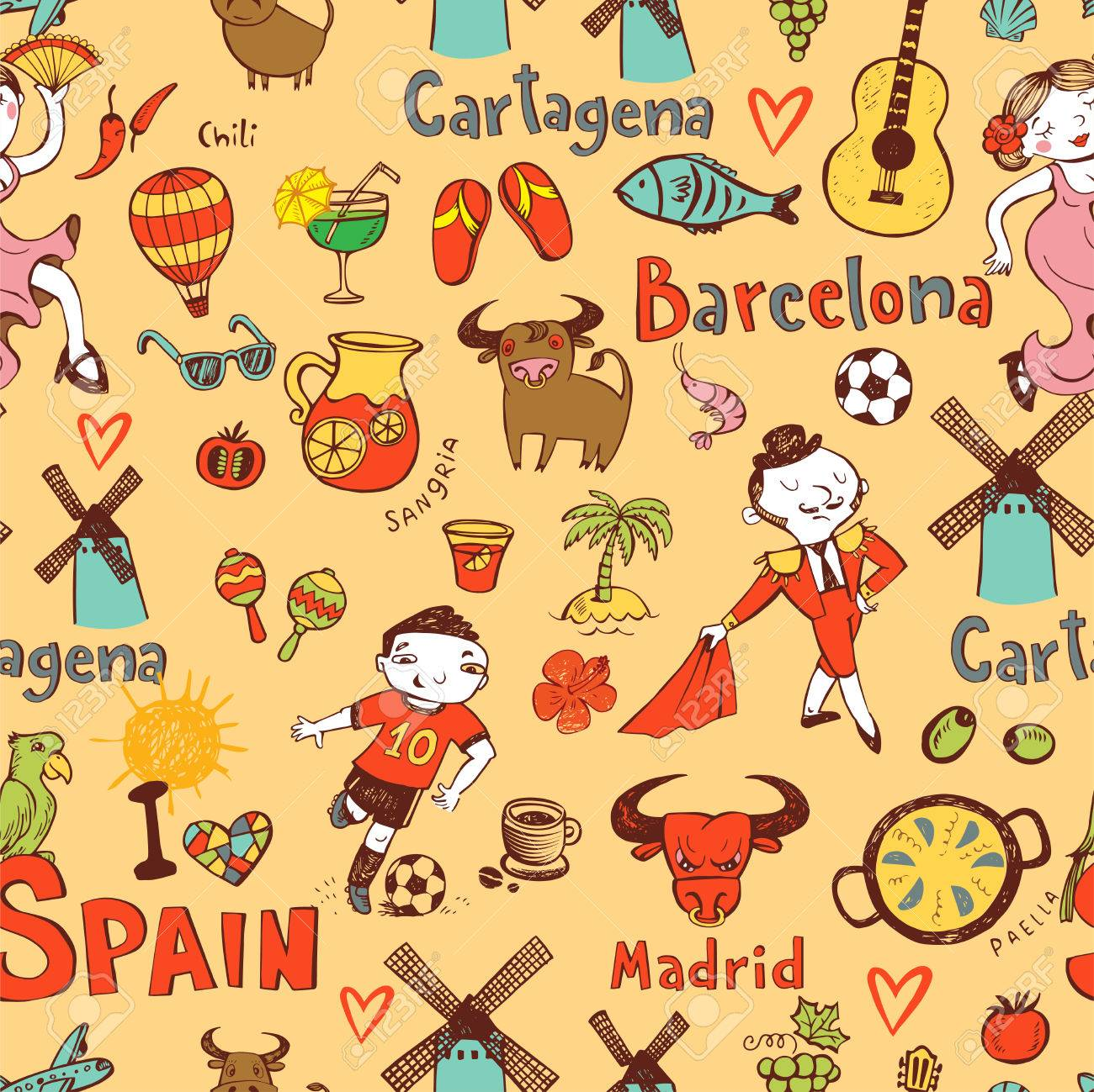 Seamless background with symbols of spain royalty free cliparts seamless background with symbols of spain stock vector 83626315 buycottarizona Images