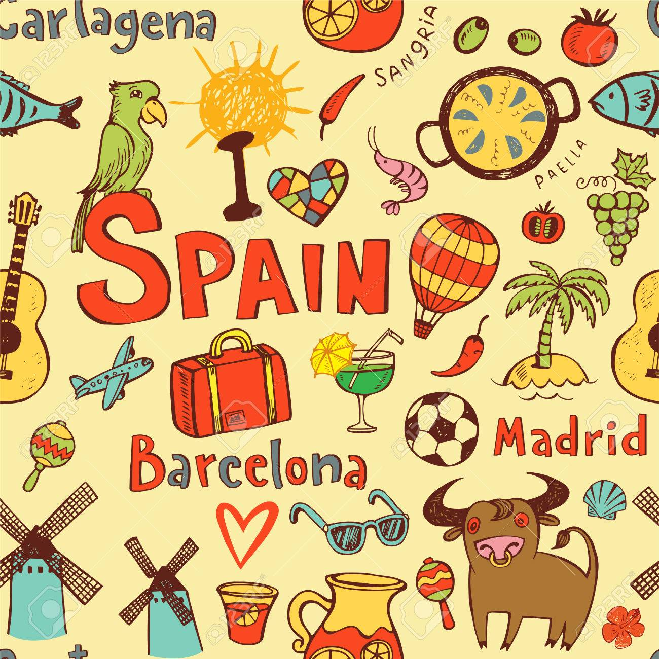 Seamless background with symbols of spain royalty free cliparts seamless background with symbols of spain stock vector 83634010 buycottarizona Images
