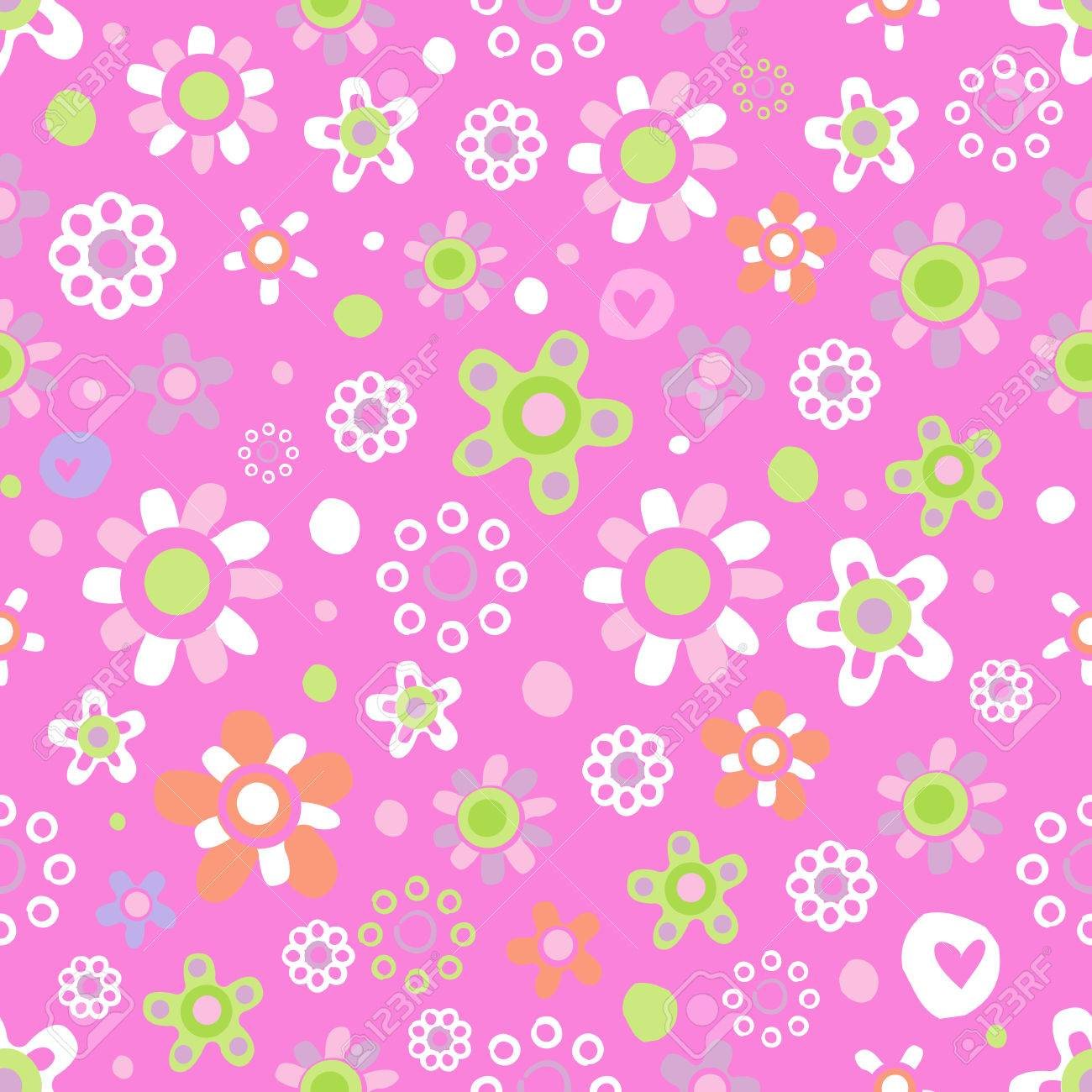 Seamless Pattern With Cute Funny Cartoon Flowers And Herbs On Pink Background The Good Choice