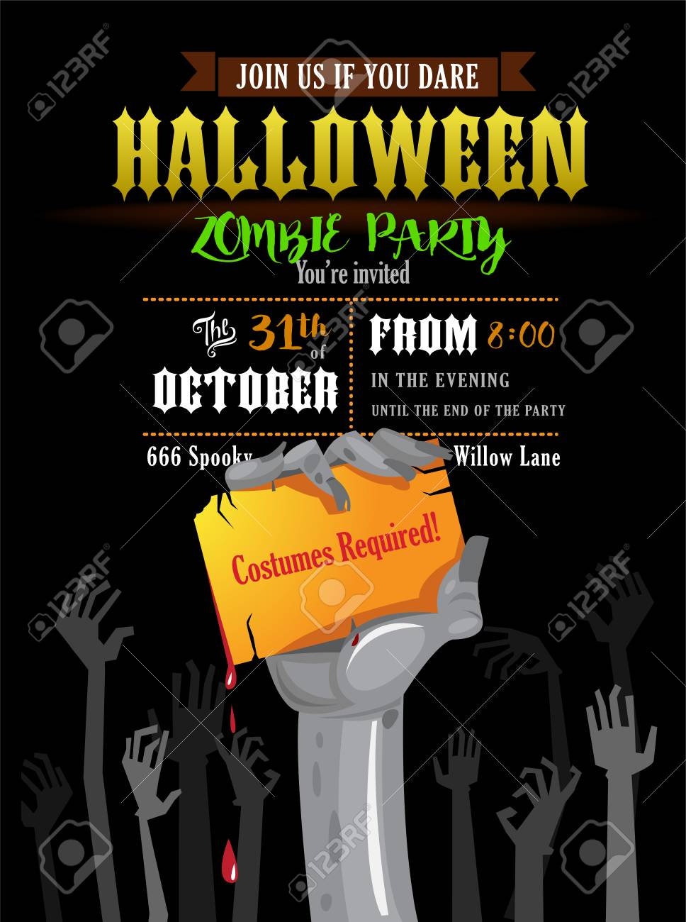 Halloween Invitation Card Or Poster Of A Zombies Party