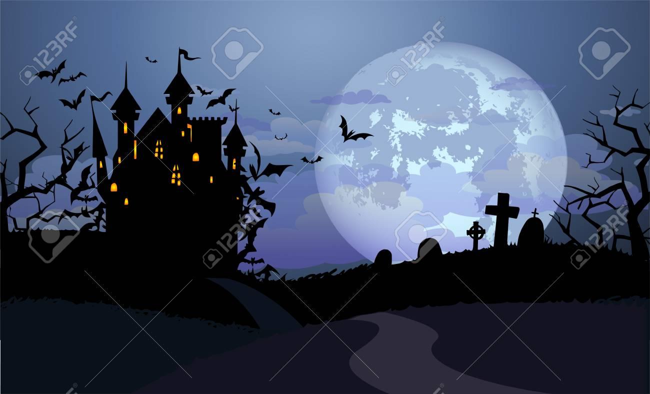 Fondo De Halloween Con El Castillo De Drácula Y Varias Siluetas De  Murciélagos Volando Contra La Luna Llena Ilustraciones Vectoriales, Clip  Art Vectorizado Libre De Derechos. Image 87739464.