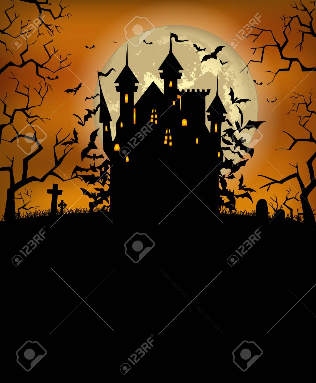 Castello Halloween.Halloween Background With Scary Dracula Castle And Various Silhouettes