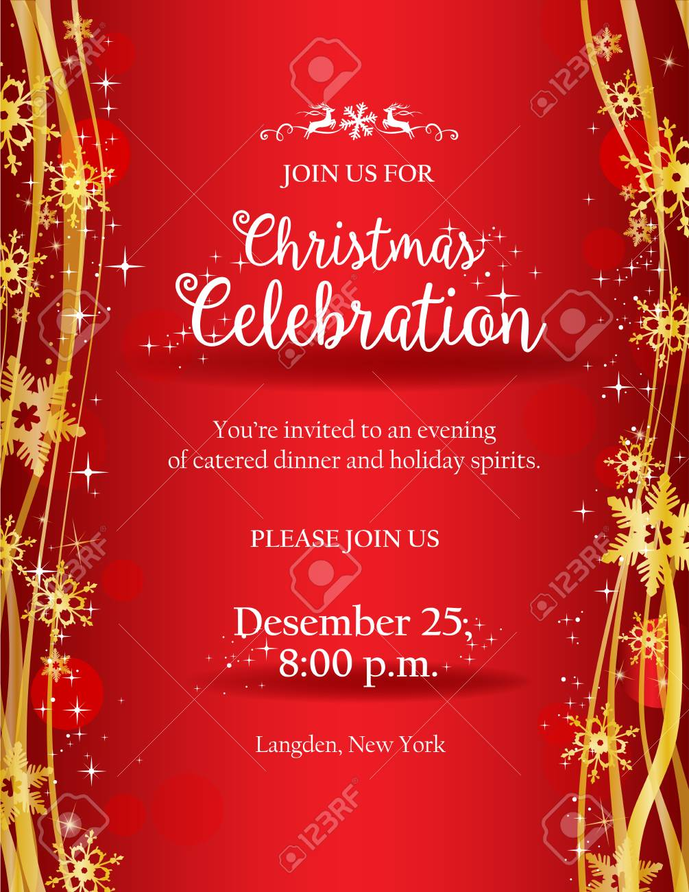 Christmas Party Invitation With Ornate Golden Snowflakes On Red Royalty Free Cliparts Vectors And Stock Illustration Image 88590945