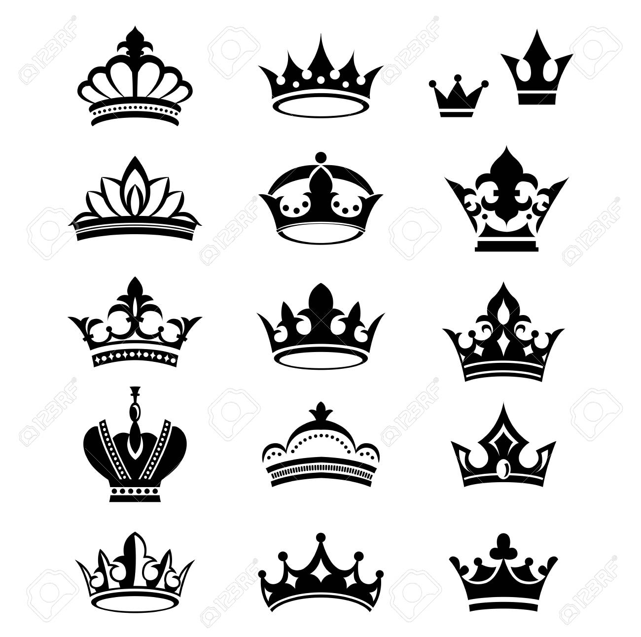 Collection Of Crown Silhouette Symbols Royalty Free Cliparts Vectors And Stock Illustration Image 115150793 Choose from 70000+ crown silhouette graphic resources and download in the form of png, eps, ai or psd. collection of crown silhouette symbols
