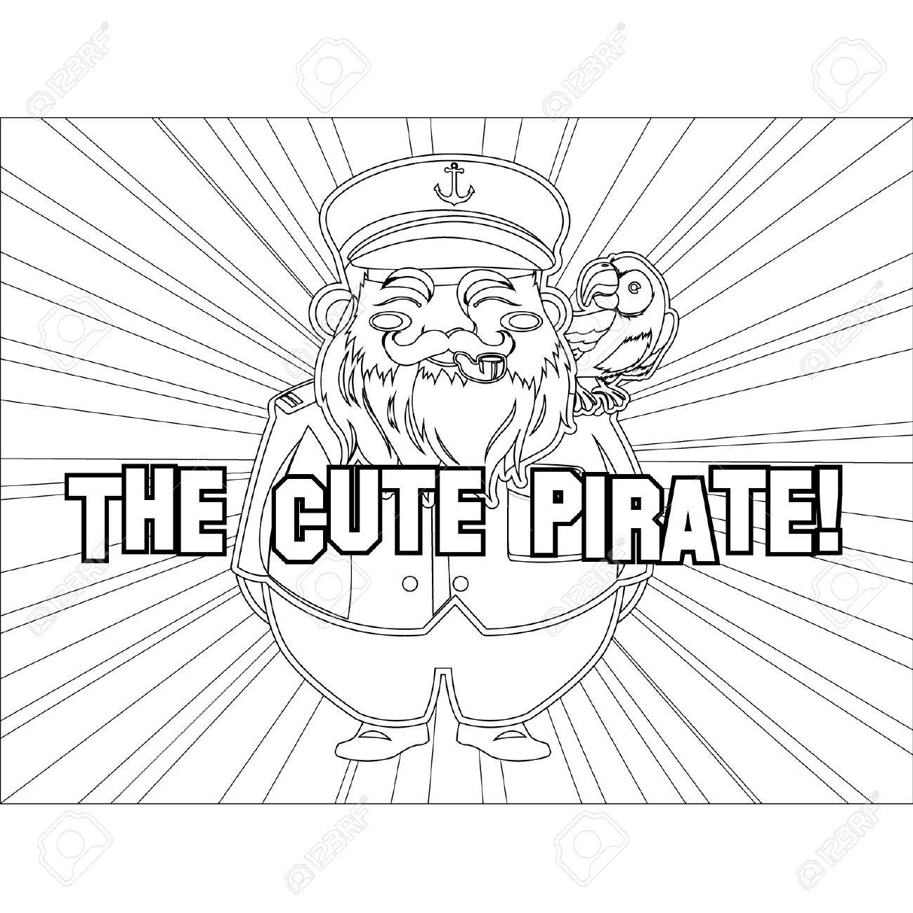 Outlined Cute Captain Pirate Stock Vector - 14799004