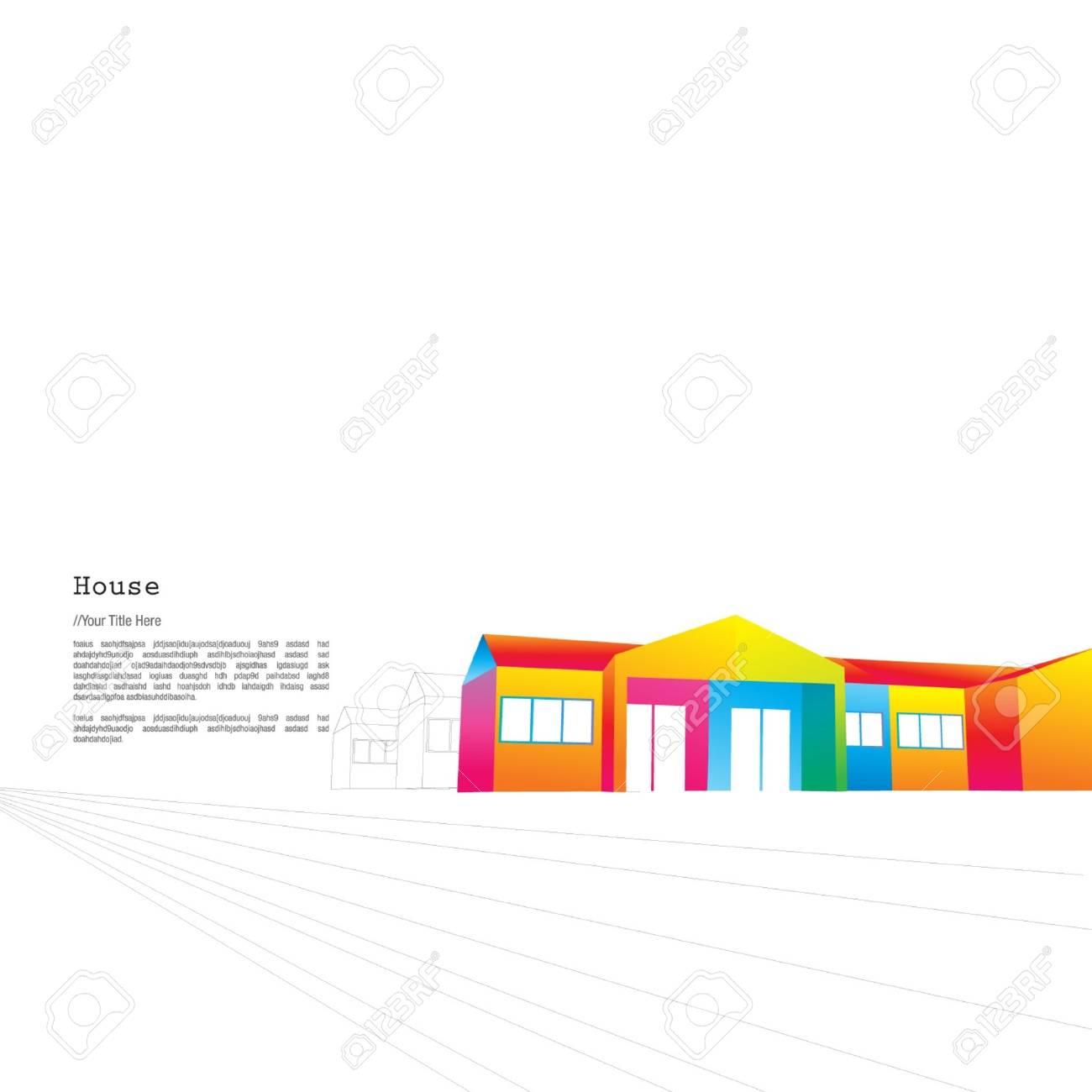 Colourful single storey terrace Stock Vector - 16345932