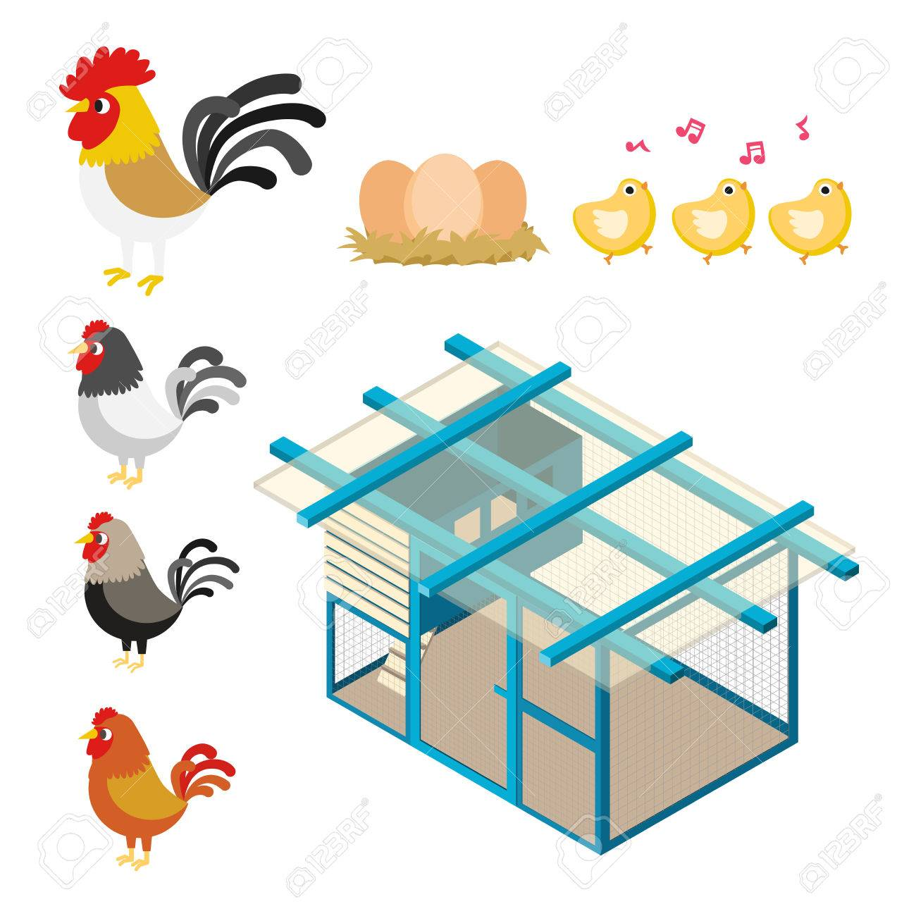 Chicken Coop Farm Vector Cartoon Illustration Set Stock