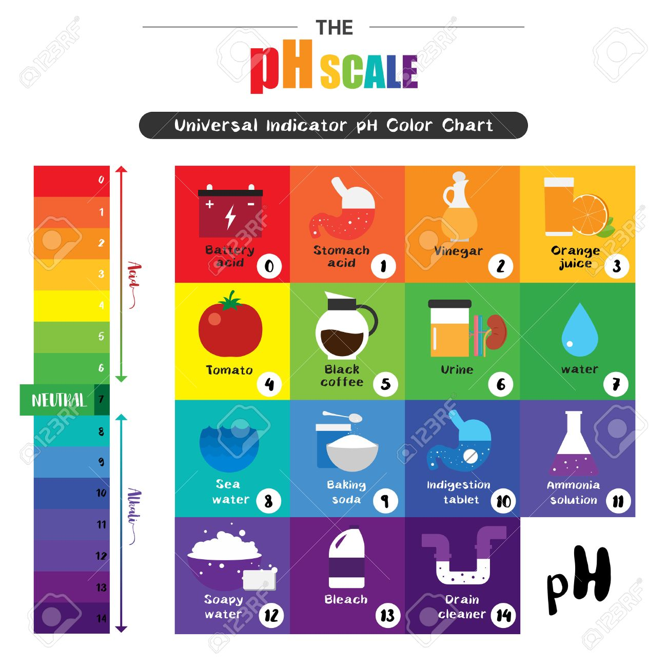 The PH Scale Universal Indicator PH Color Chart Diagram Acidic ... for Ph Scale Universal Indicator  279cpg