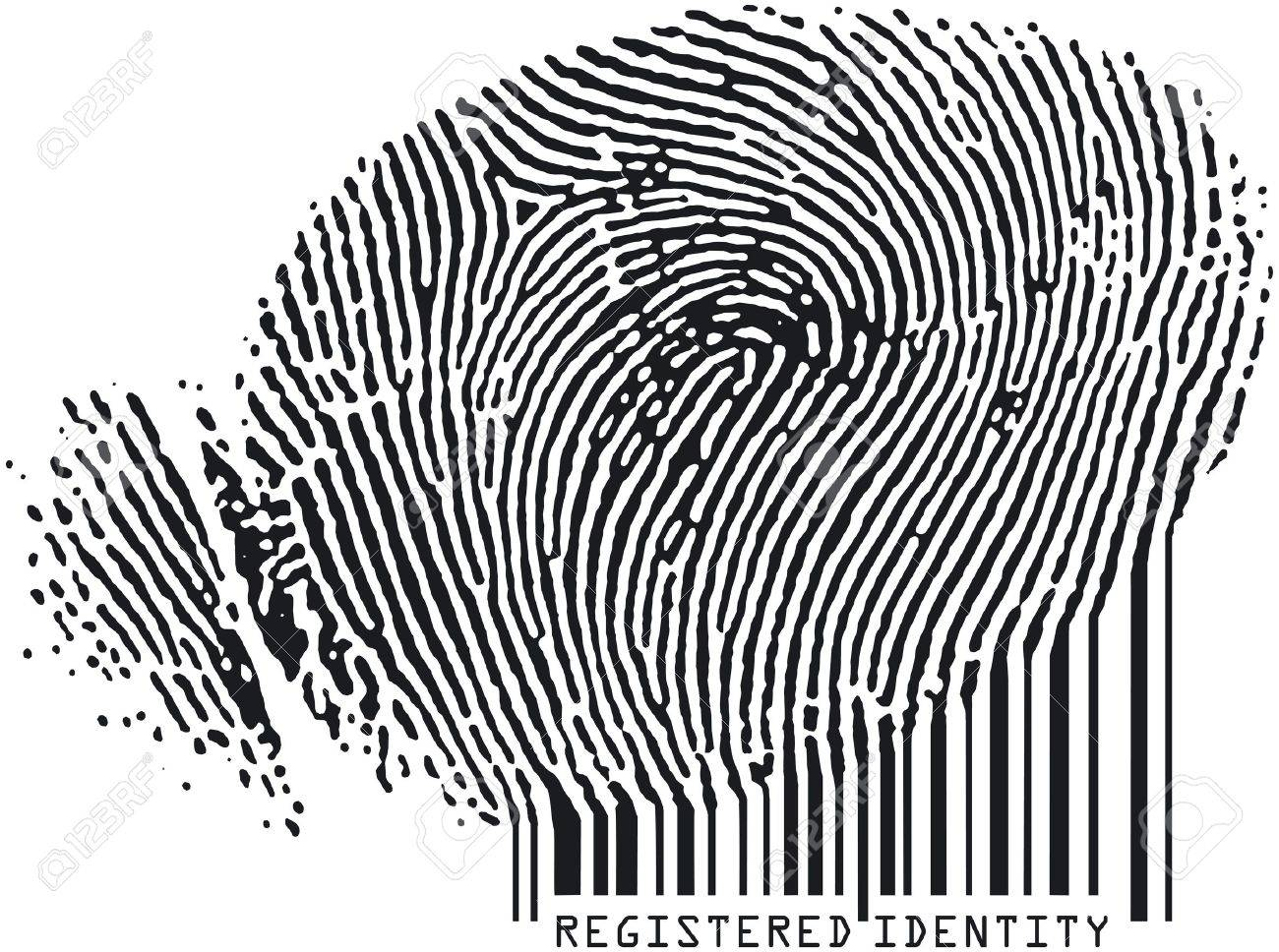 Registered Identity - Fingerprint becoming barcode Stock Photo - 676841