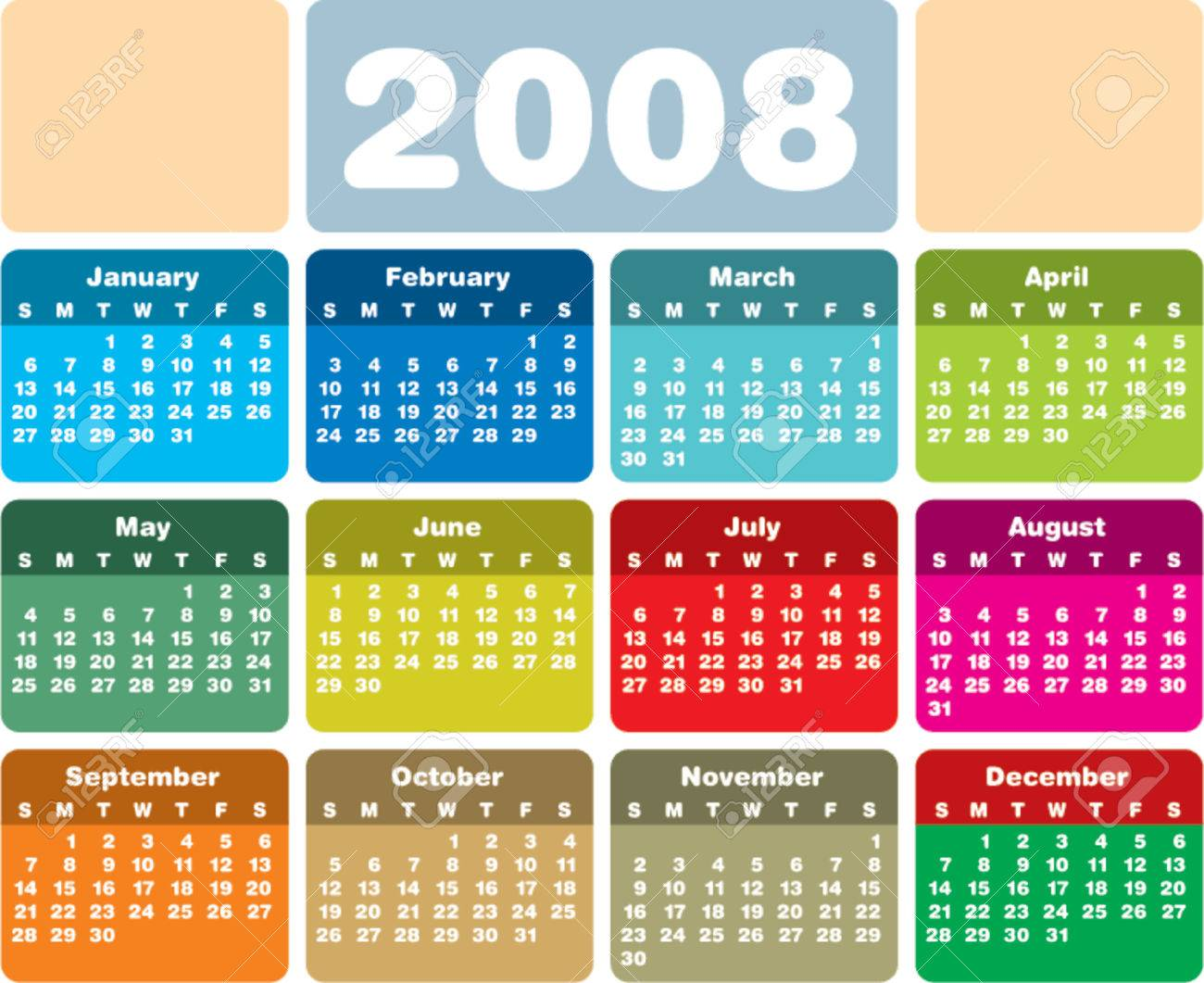Colorful 2008 Calendar Royalty Free Cliparts Vectors And Stock