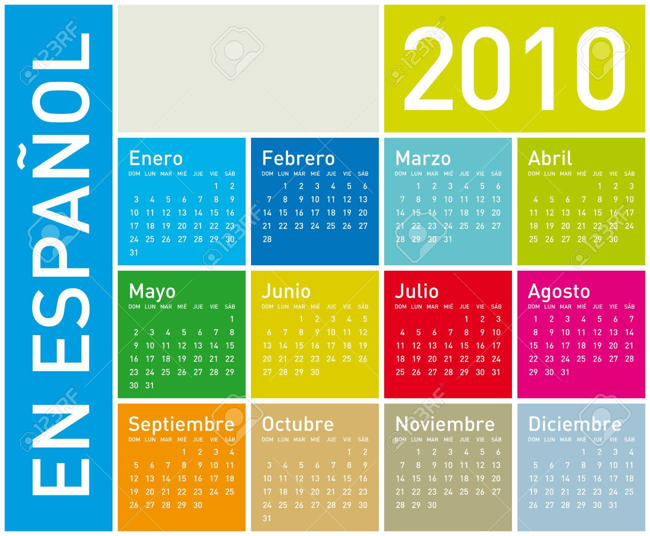 Colorful Calendar for year 2010. in vector format. In Spanish. Stock Vector - 4528947