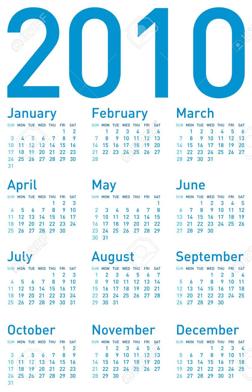 Simple Blue Calendar for year 2010. in vector format Stock Vector - 4653255