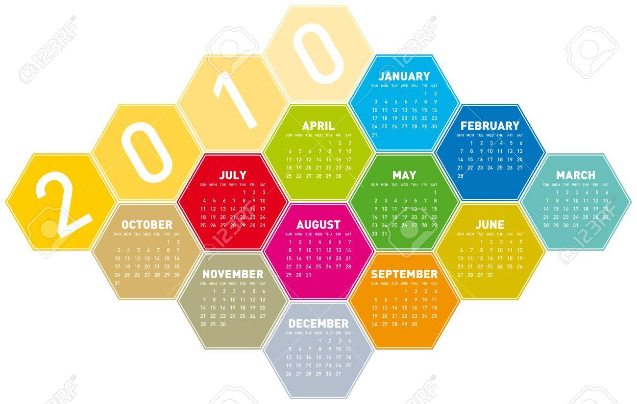 Calendar for year 2010 in an hexagonal pattern (vector format) Stock Vector - 5372408