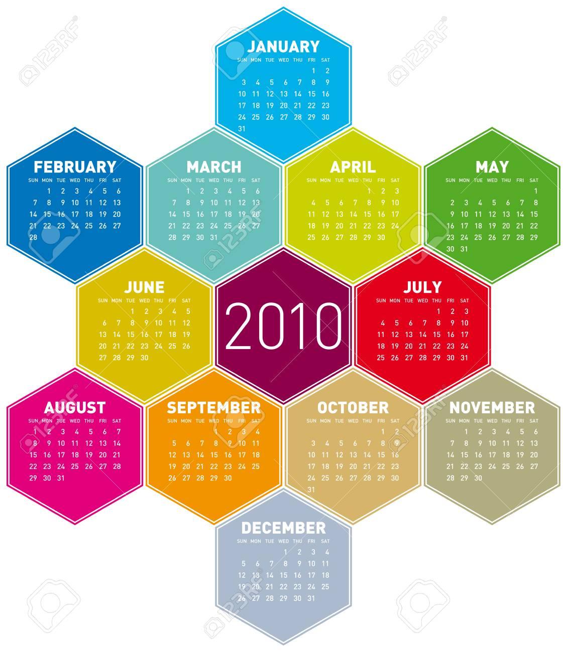 Calendar for year 2010 in an hexagonal pattern (vector format) Stock Vector - 5501583